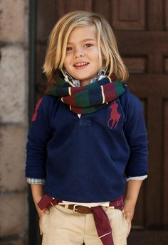 OMG I DIE - if I have a son, his hair will definitely be long & he will be decked in preppy clothing