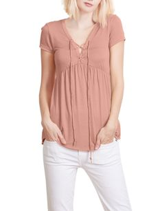 2b789b7fde LE3NO Womens Flowy Lace Up Front Short Sleeve Jersey Top Stretchy Material