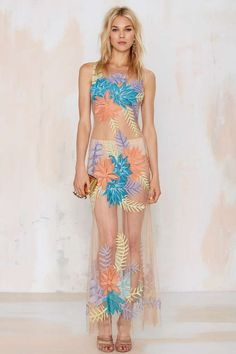 Nasty Gal x For Love & Lemons Tropicana Embroidered Maxi Dress