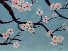 This cherry blossom painting was very easy art to create. Done with acrylic. Simply painted the background, randomly placed branches, then loaded up a round brush with paint and dapped it in groupings of five to make flower shapes. Then went back to each flower and added a dark dot in the center. Even if you're not a painter, it's worth a try.