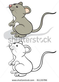 Fun mouse. Color and contour - stock vector