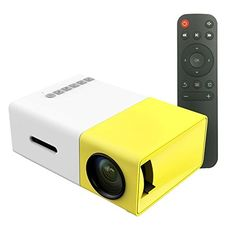 YUHAN® [Portable Mini LED Projectors],Multimedia Portable LED Projector with PC Laptop USB/SD/AV/HDMI Input Pocket Projector for Video Movie Game Home Entertainment Projetor with Remote Control,Idea for Kids/Children Gifts(Quality Guaranteed) (Yellow & White)