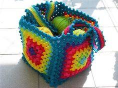 Schema: come fare borsa con mattonelle a uncinetto facile facile.