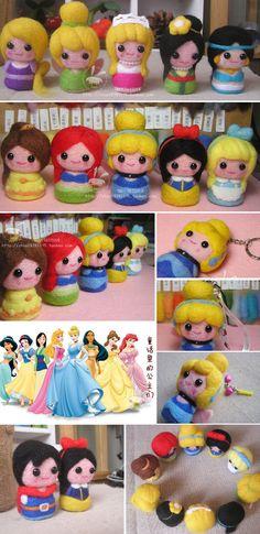 Kits 迪士尼仙蒂 Cinderella princess girl phone chain diy wool felt Felting needle by hand - Taobao