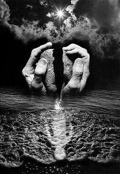Untitled, (rowboat, ocean and clouds in cupped hands), 1996 - by Jerry Uelsmann (1934), USA