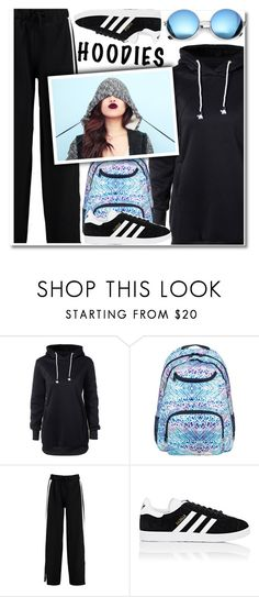 """Hoodie dress"" by paculi ❤ liked on Polyvore featuring Roxy, Boohoo, adidas and Revo"