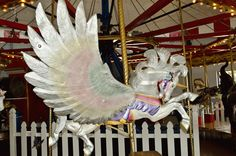 Looks like a Flying Unicorn or Pegasus Unicorn Carousel Animal - Patee House Museum, St. All The Pretty Horses, Beautiful Horses, Pegasus, St Joseph Mo, Carosel Horse, Amusement Park Rides, Wooden Horse, Painted Pony, Merry Go Round