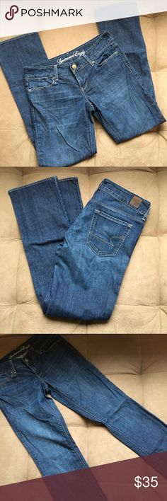 EUC American Eagle Jeans Sz 4 short Style is 77 straight. Pants are in extremely good condition. Made from 99% cotton and 1% spandex. Very little stretch. 38 inches long, front rise 7 1/2 inches, width 28 inches. Straight leg. American Eagle Outfitters Jeans Straight Leg
