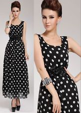 Women's Clothing Sexy Maxi Chiffon Polka Dot Cocktail Party Evening Dress AR645