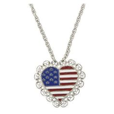 Scalloped Heart Pendant USA Flag Patriotic Necklace ($24) ❤ liked on Polyvore