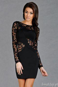 Elegancka sukienka z koronkowymi rękawami.... #Sukienki - http://bmsklep.pl/emamoda-sukienka-czarny-5207-1