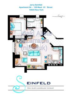 Jerry Seinfeld's Apartment Floorplan Small by TVFLOORPLANSandMORE, €45.00