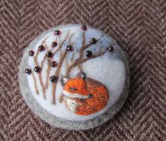 Needle felted brooch Winter sleep. by FeltAccessories on Etsy