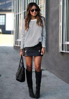 Fashion World: Black high boots, black skirt, bag and black and white tee shirt