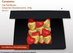 Corazones de chocolate ... ¡quién se resiste a esta sorpresa! Chocolate Belga, Ice Tray, Chocolate Hearts, Bonbon, Messages, Different Types Of, Shapes, Milk, Hearts