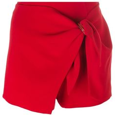 Ermanno Scervino Wrapped Detail Shorts (2,740 GTQ) ❤ liked on Polyvore featuring shorts, red, wrap shorts, ermanno scervino and red shorts