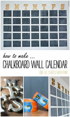How to make a chalkboard wall calendar. DIY to make your own oversize, large wall calendar with chalkboard paint. Easy tutorial with how to pictures. Diy Home Decor For Teens, Bedroom Decor For Teen Girls, Diy Home Decor Bedroom, Teen Room Decor, Teen Girl Bedrooms, Diy For Teens, Cool Teen Rooms, Bedroom Ideas For Teen Girls Small, Chalkboard Wall Calendars
