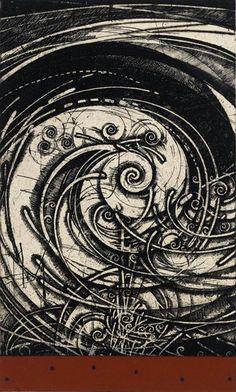 Surreal Painting Original Art Ink Black and White Geometric Painting Tiny Zen Artwork Mandala Dark Abstract 8 x 8 by NikaDemenko