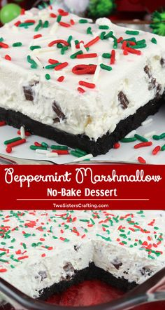 Peppermint Marshmallow No-Bake Dessert - a delicious blend of peppermint and marshmallow on a Oreo Crust. Your family will ask for this yummy Christmas Treat and again. Light and delicious, this Holiday dessert recipe is a family favorite. Pin this yummy Christmas Dessert for later and follow us for more great Christmas Food Ideas. #ChristmasFood #ChristmasDesserts #NoBakeDessert #TwoSistersCrafting #Peppermint Dessert For Christmas Dinner, Holiday Desserts Christmas Cake, Christmas Pies, Christmas Recipes, Christmas Sprinkles, Christmas Snacks, Christmas Goodies, Holiday Baking, Christmas Baking