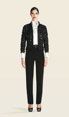 Elan black jacket, Tempest pant, Legend white ruffled blouse | Carlisle Collection | Per Se | Collections | Lookbook | Carlisle | Holiday 2013 | 25