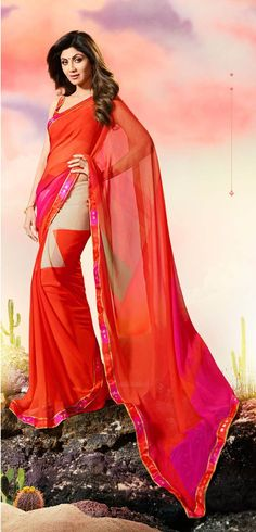 Variation Red Georgette Saree with Georgette Red Blouse
