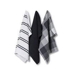 Essential Check Tea Towels Charcoal