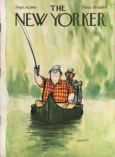 New Yorker cover Saxon stout canoe angler 9/14 1968