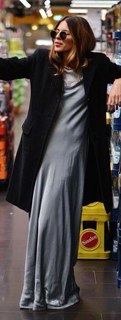 Ghost London Grey Silk Floor Length Maxi Dress by MAJA WYH - GORGEOUS