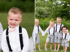 Ring bearer outfit. Gray shorts, pink bow tie, suspenders.