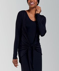 This Black Drape Open Cardigan - Women by Amoena is perfect! #zulilyfinds