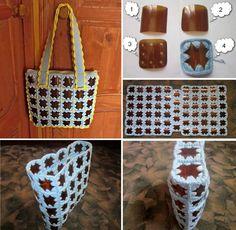 Bolsa feita com crochê e quadrados de garrafas pet.