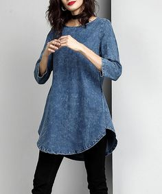 Take a look at this Washed Indigo Chambray Scallop Hem Tunic today!
