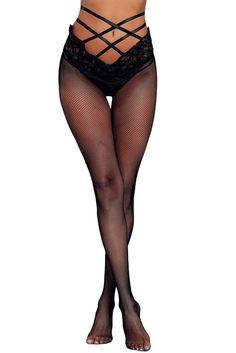Black Strappy High Waist Lace Mesh Pantyhose