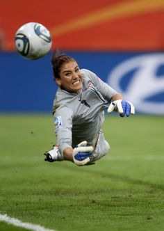 DRESDEN, GERMANY - JULY Hope Solo of USA saves a penalty during the shoot out during the Women's World Cup Quarter Final match between Brazil and USA at Rudolf-Harbig Stadium on July 2011 in Dresden, Germany. (Photo by Scott Heavey/Getty Images) Soccer Goalie, Us Soccer, Girls Soccer, Soccer Stars, Play Soccer, Soccer Players, Football Team, Hope Solo Photos, Messi