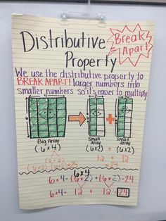 Talking about the distributive property. Used arrays to show how the numbers break apart.