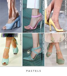 Pastels  For Spring 2012, chalky pastels have become the new sophisticate color palette, thanks to top designers such as Louis Vuitton and Jil Sander. The soft tones appeared in classic pumps, simple sandals and beach wedges, in a variety of materials. Crocodile, leather, patent leather and raffia were exhibited in pale pinks, yellows, greens and blues. Match pastel heels with floral skirts or with black and white for a pop.