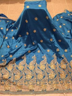 """TURQUOISE SHANTUNG W/GOLD  SEQUINS BORDER EMBOIIRDEY FABRIC 50"""" WIDE 1 YARD #burnout"""
