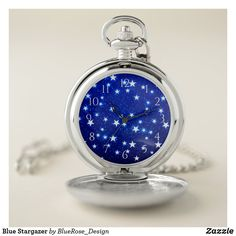 Blue Stargazer Pocket Watch Personalized Pocket Watch, Stargazer, Make A Gift, Christmas Card Holders, Cool Watches, Colorful Backgrounds, Quartz, Pocket Watches, Outer Space