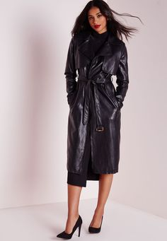 Faux Leather Trench Coat Black - Coats and Jackets - Missguided