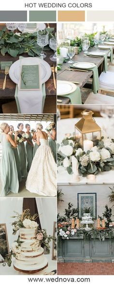 spring wedding ideas 10 Sage Green Wedding Color Palettes for 2020 Trends Gold Wedding Colors, Wedding Color Schemes, Wedding Themes, Green Wedding Decorations, Themed Weddings, Wedding Cakes, Budget Wedding, Colour Themes For Weddings, Color Palette For Wedding
