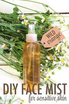 Face Mist For Sensitive Skin 1 Chamomile tea bag 3 drops of wild orange essential oil   2 drops of vegetable glycerin  water spritz bottle