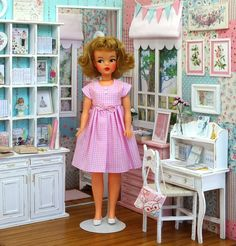 Vintage Tammy doll in her new dress by SweetPetiteShop on Etsy - photo by me Debby Emerson