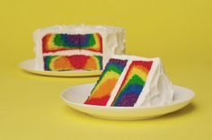 Rainbow Cake. All you need is  white cake mix and food coloring. Separate batter into seven bowls, add coloring. Layer colored batter into pan and bake as directed.