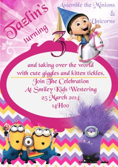 Agnes Unicorn Minion Party Invite #Agnes #Unicorn #Minions #Despicable_Me #3rd_Birthday PDF format available on request