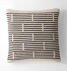 Woven Mohair Broken Stripe Pillow Cover Navy - 20in. x 20in.