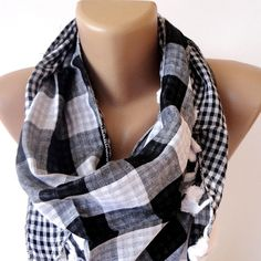 spring celebration ,Scarf ,black and white plaid scarf , women scarves , cowl scarf , summer spring scarf on Etsy, $12.90