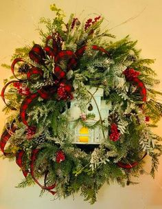 Christmas Wreaths Portfolio - Professional Wreath Designs Grapevine Christmas, Red And Gold Christmas Tree, Christmas Wreaths To Make, Christmas Swags, Christmas Table Decorations, Christmas Ribbon, Holiday Wreaths, Christmas Crafts, Winter Wreaths