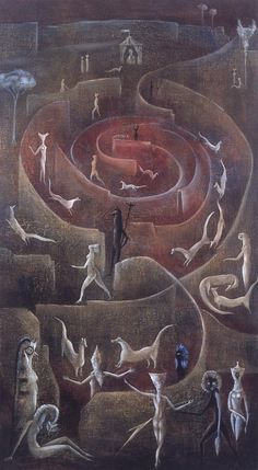 What do you see here?  I see this visitors in a rosebud.  (art:: Leonora Carrington)