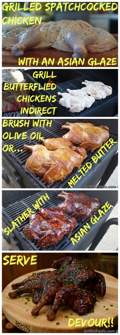 Simple instructions on how to spatchcock or butterfly a chicken and then smoke it with an elegant and elaborate Asian glaze. | Grilled Spatchcocked Chicken with an Asian Glaze | https://grillinfools.com