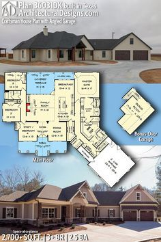 Architectural Designs House Plan client-built in Texas. New House Plans, Dream House Plans, House Floor Plans, Architectural Design House Plans, Architecture Design, Big Bedrooms, House Blueprints, Story House, House Layouts